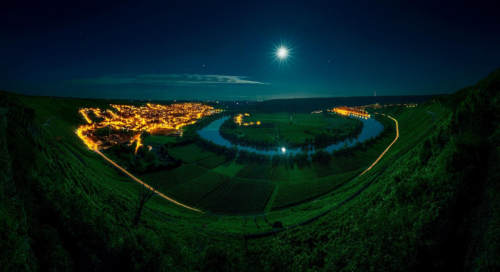 SIGADesign Fotografie Landschaft Neckarschlaufe Besigheim Mundelsheim bei Nacht