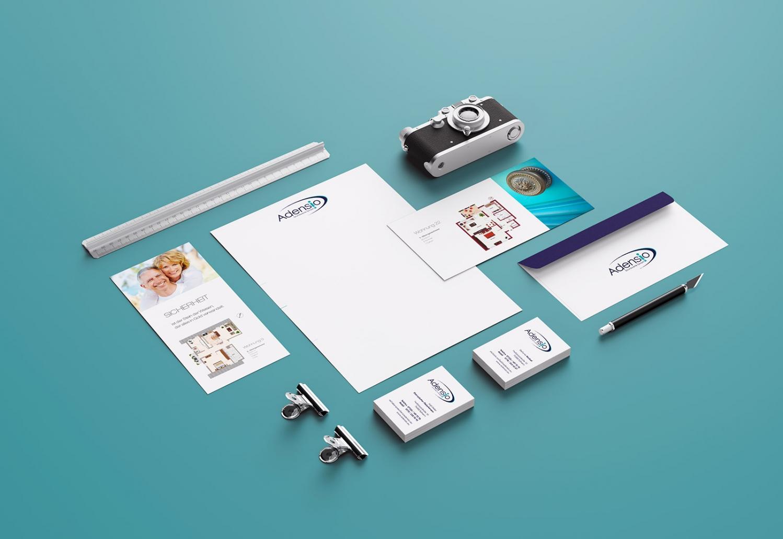 Briefpapier, Visitenkarten, Flyer für Adensio Immobilien