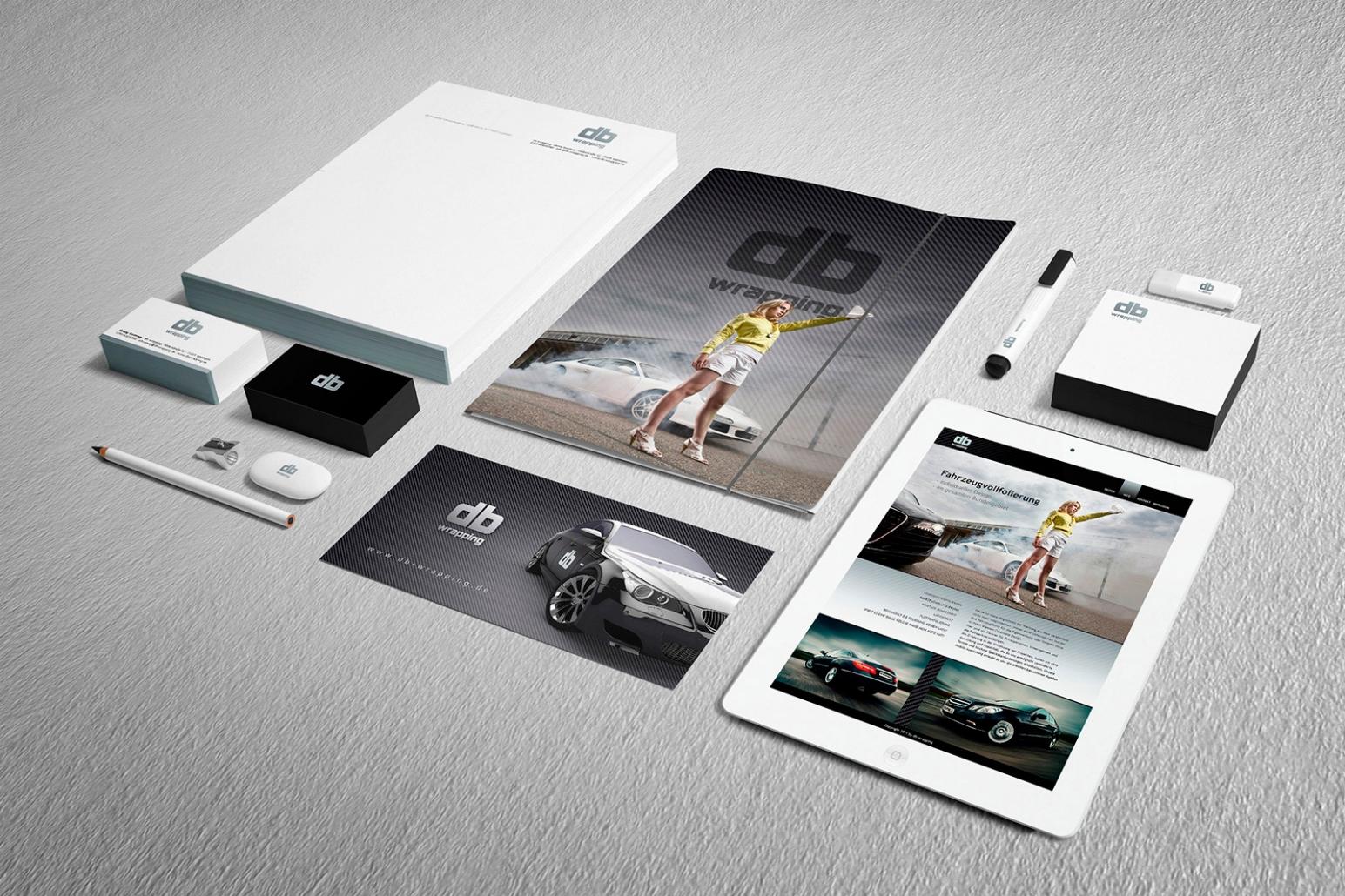 Logo, Briefpapier, Visitenkarten, Flyer, Mappe, Merchandise, give-aways für db wrapping