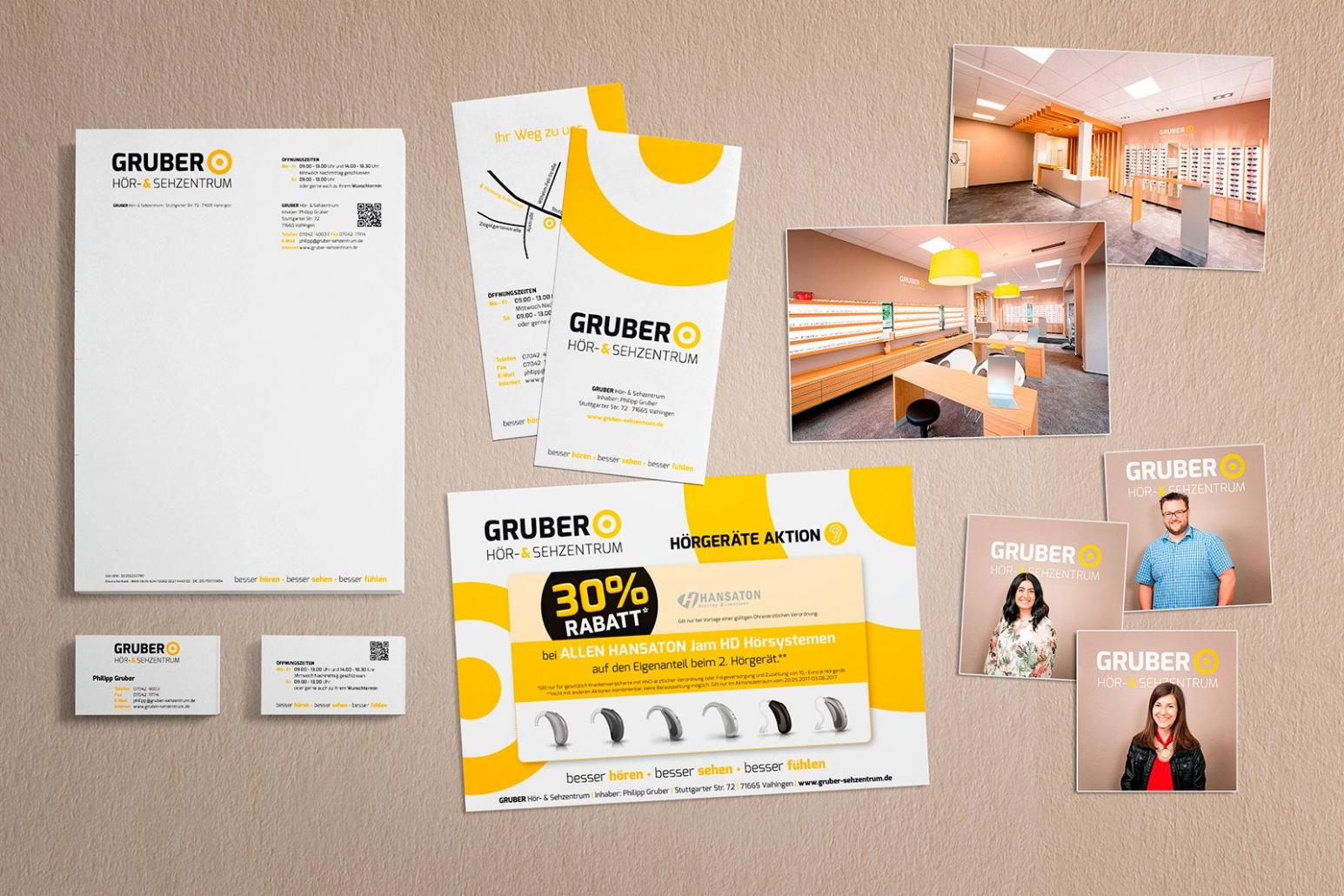 Logo, Briefpapier, Visitenkarten, Flyer für Gruber Hör- & Sehzentrum
