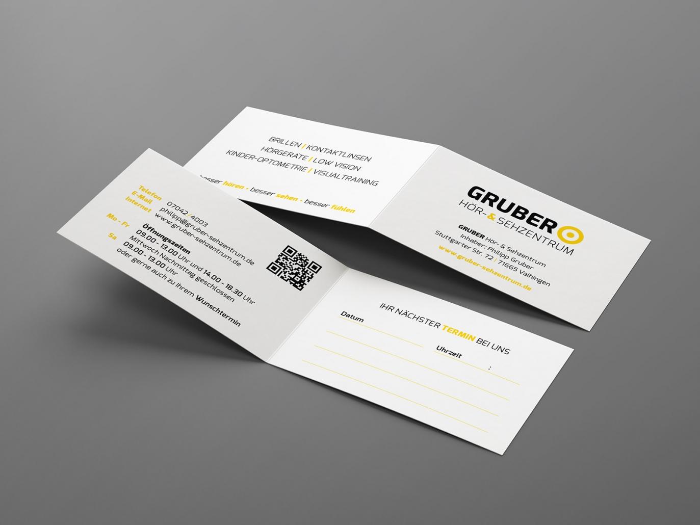 Terminkarten für Gruber Hör- & Sehzentrum