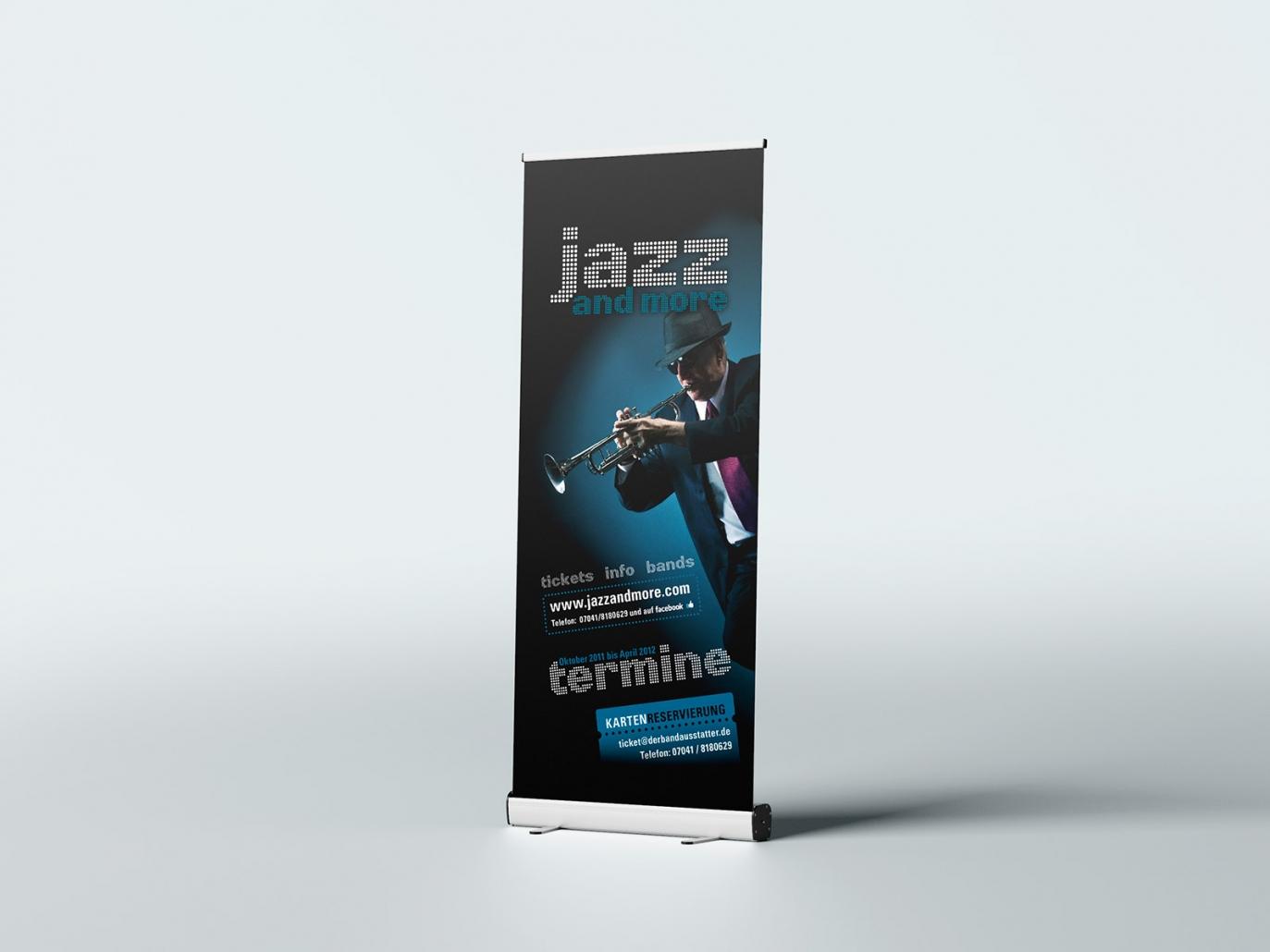 Logo, Aufsteller für den Event jazz and more