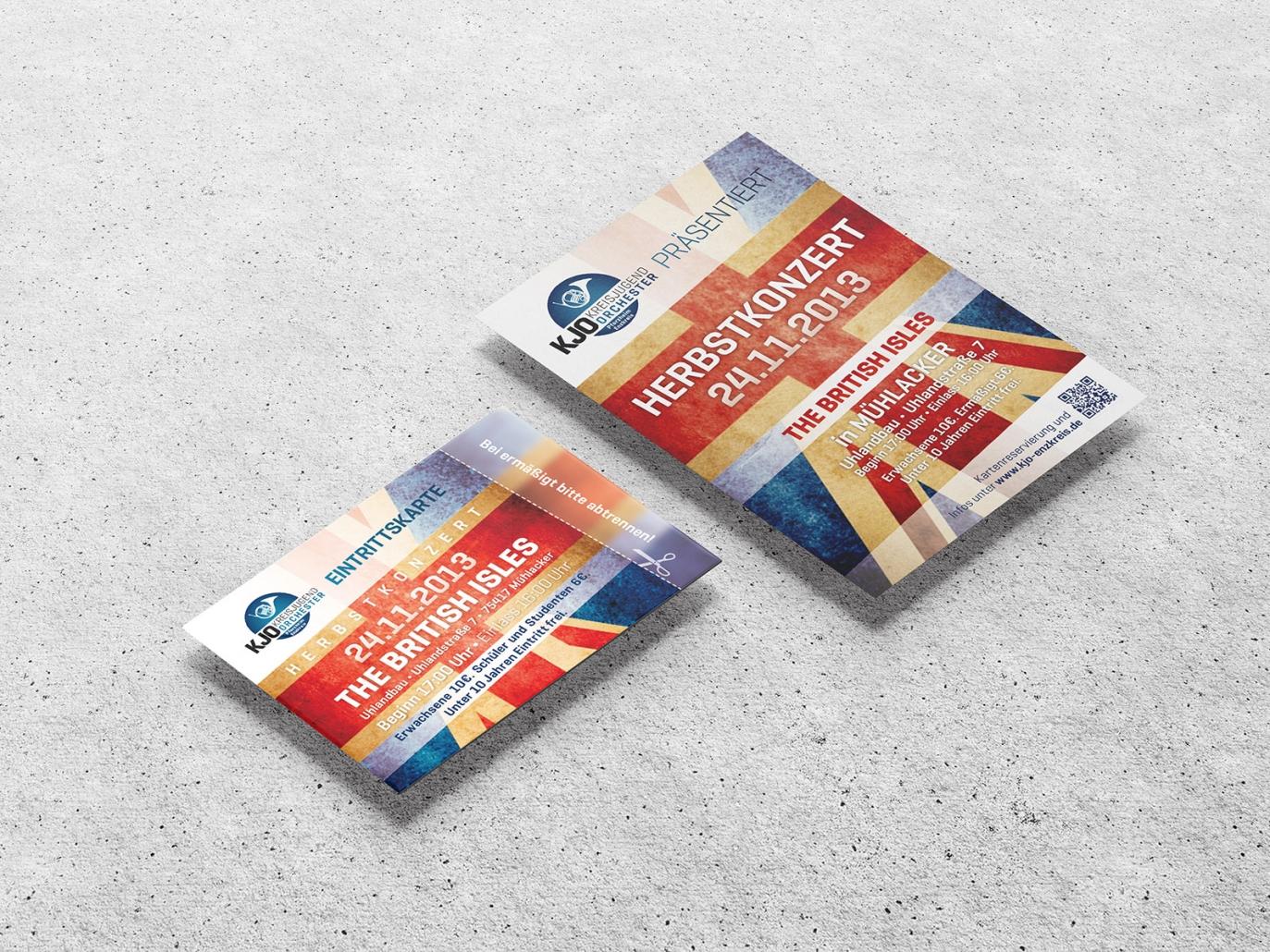 Logo, Plakate, Flyer und Eintrittskarten des KJO Kreisjugendorchester Pforzheim Enzkreis