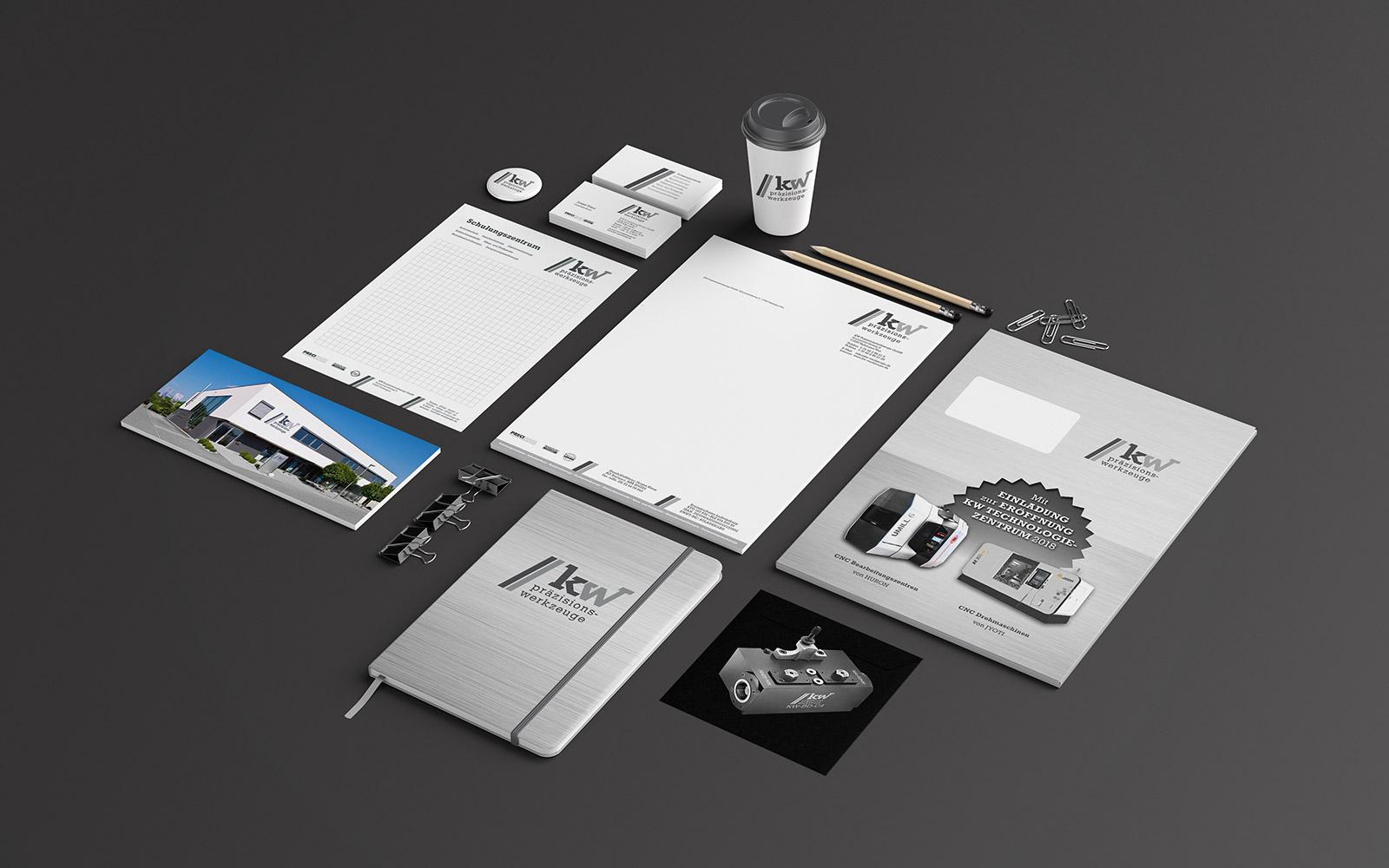 Logo, Briefpapier, Visitenkarten, Flyer, Notizblöcke, give-aways etc. für KW Präzisionswerkzeuge