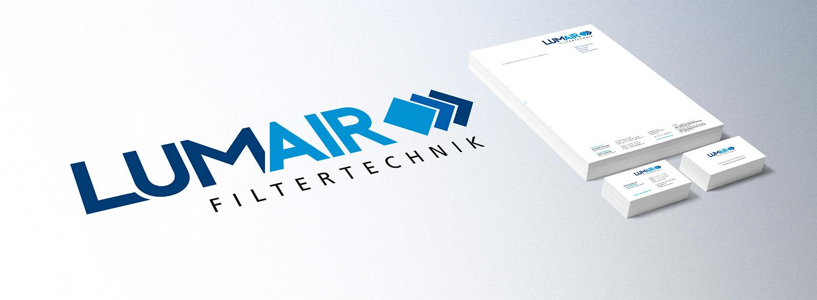 Logo, Briefpapier, Visitenkarten für LUMAIR Filtertechnik