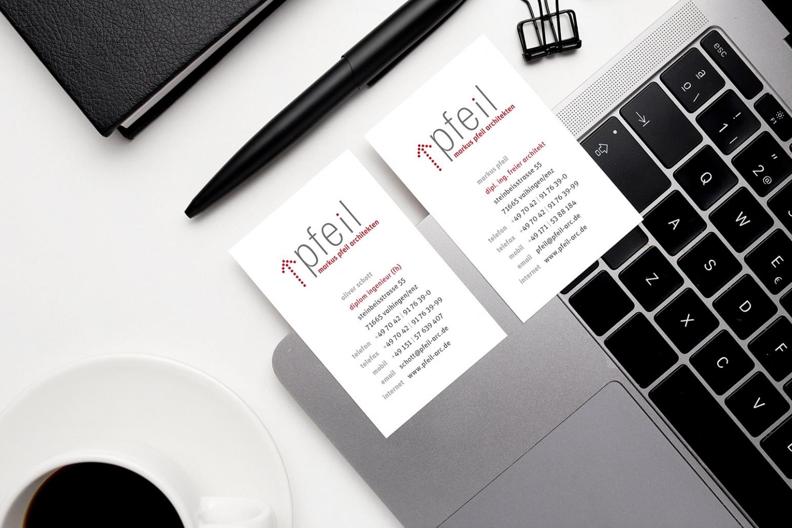 Visitenkarten für markus pfeil architekten
