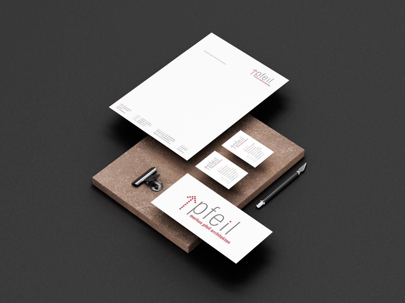 Visitenkarten & Briefpapier für markus pfeil architekten
