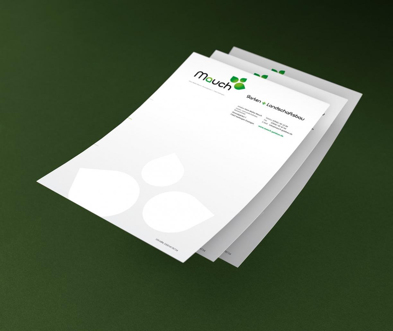Logo, Visitenkarten, Briefpapier für Mauch Galabau