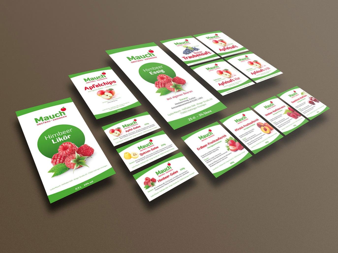 Etiketten für Flaschen, Gläser und Verpackungen für Obstbau Mauch