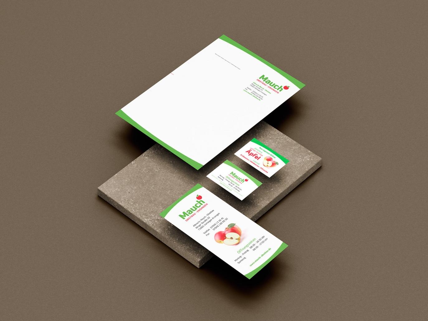 Logo, Briefpapier, Visitenkarten, Flyer für Obstbau Mauch