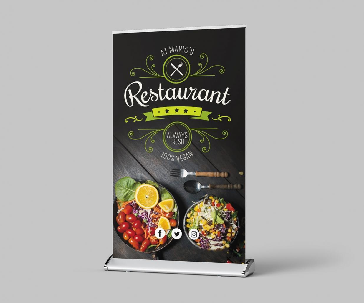 Restaurant rollup-display-aufsteller