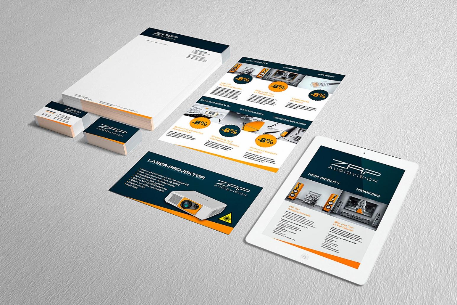 Logo, Briefpapier, Visitenkarten, Flyer für ZAP audiovision